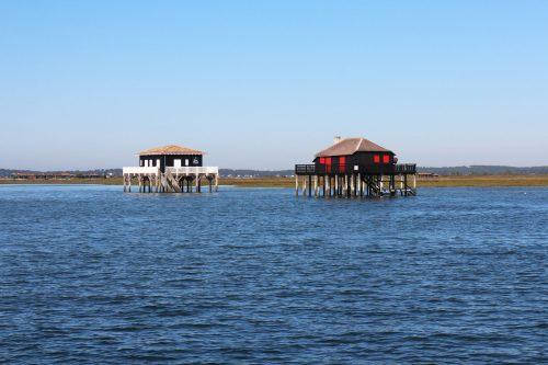 Les Cabanes Tchanquées et l'Île aux Oiseaux depuis le Côte d'Argent